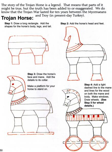 How To Draw The Trojan Horse draw and write through history books